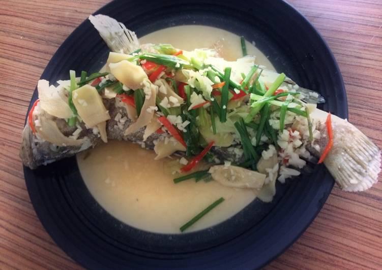 Kerapu steam bawang putih (grouper garlic steam)