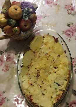 Potato gratin salmon and beef