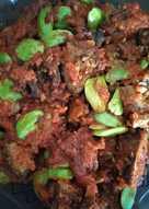 Balado ati ampela ayam with pete