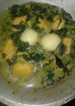 Gulai daun singkong+tahu telur
