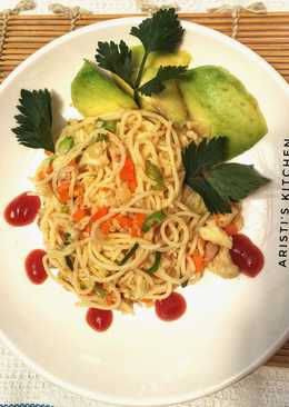 Spaghetti tuna pedas bumbu sambal matah
