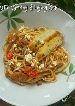 Spaghetti Goreng Daging Sapi ala Thia