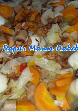 Sayur Tumis Kol Wortel Spesial with telur puyuh dan sosis ayam