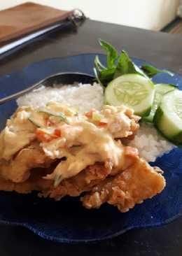 Ikan nila krispi + saus telur asin