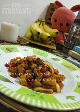 Kentang Manis dan Daging Cincang Saus Teriyaki