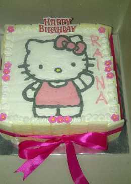 Birthday cake Hello Kitty dengan cara membuat gambarnya