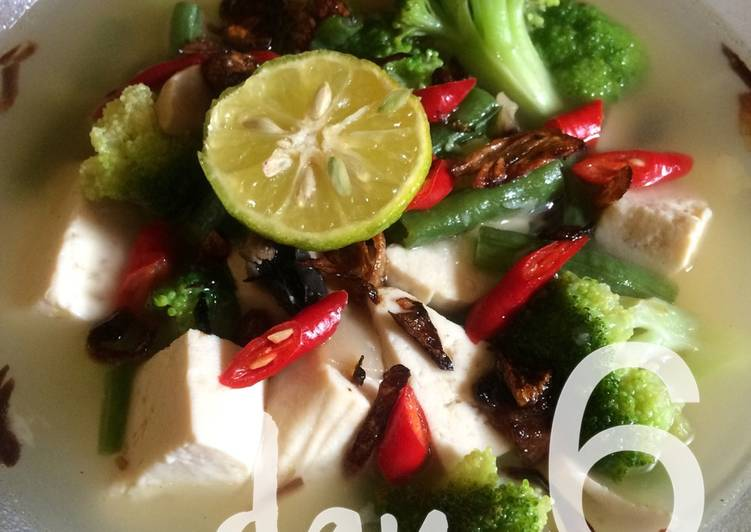 cara membuat GM Diet day 6 - Soup Tofu w/ Vegetables