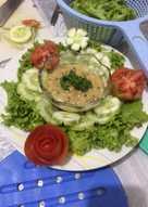 Vegetables salad with homemade sesame dressing