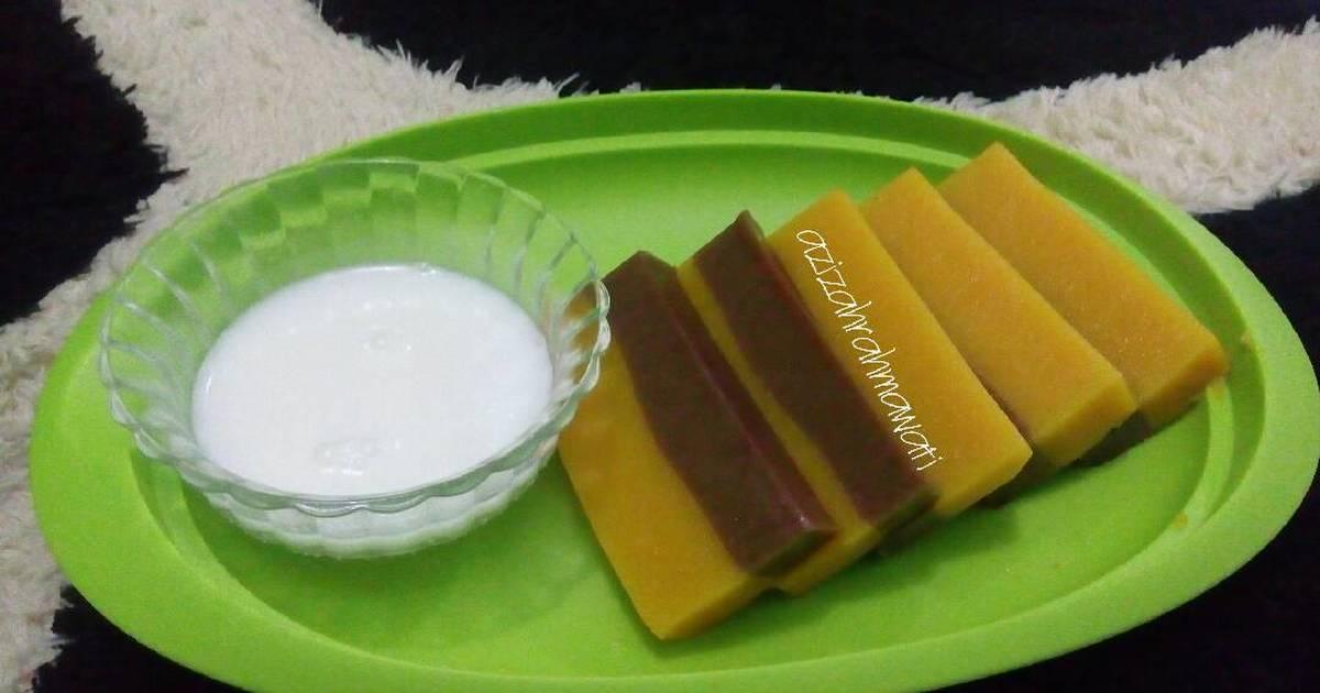Resep Cake Kukus Labu Kuning Lapis Coklat: 11 Resep Puding Labu Kuning Lapis Coklat Enak Dan