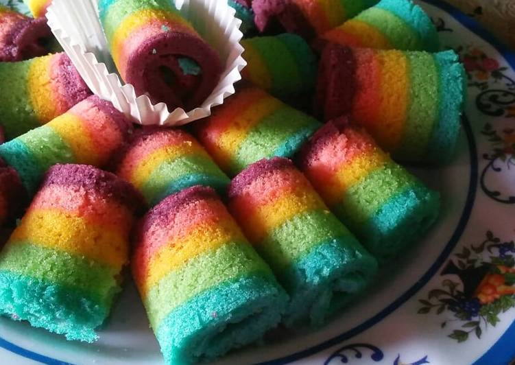 Resep Rainbow Cake Mini Gulung Oleh Ismi Cookpad