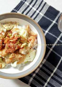 Rice bowl chicken mayonnaise cabbage