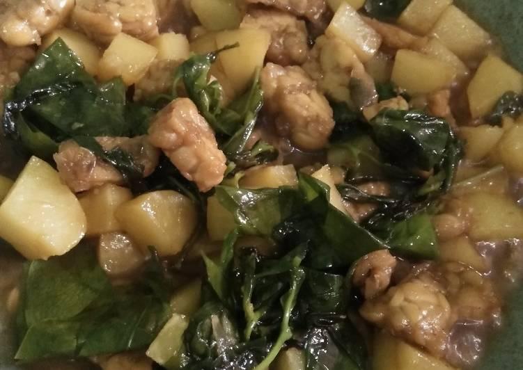 Oseng kentang tempe & daun so pedas manis