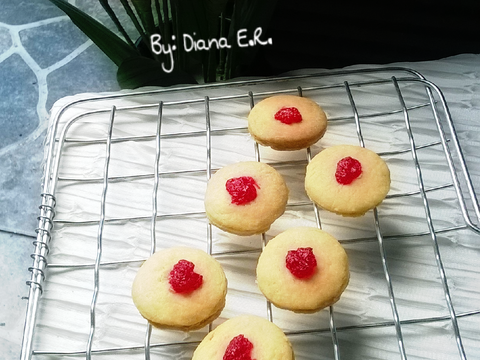 resep kue kering toping selai strawberry 3 bahan no