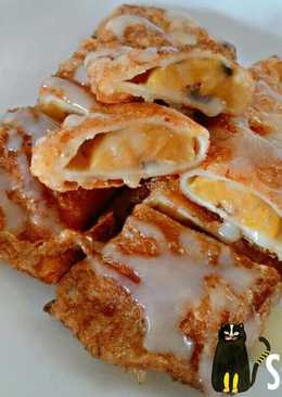 ขนมปังไส้กล้วยชุบไข่ทอด (โรตีใส่กล้วย)