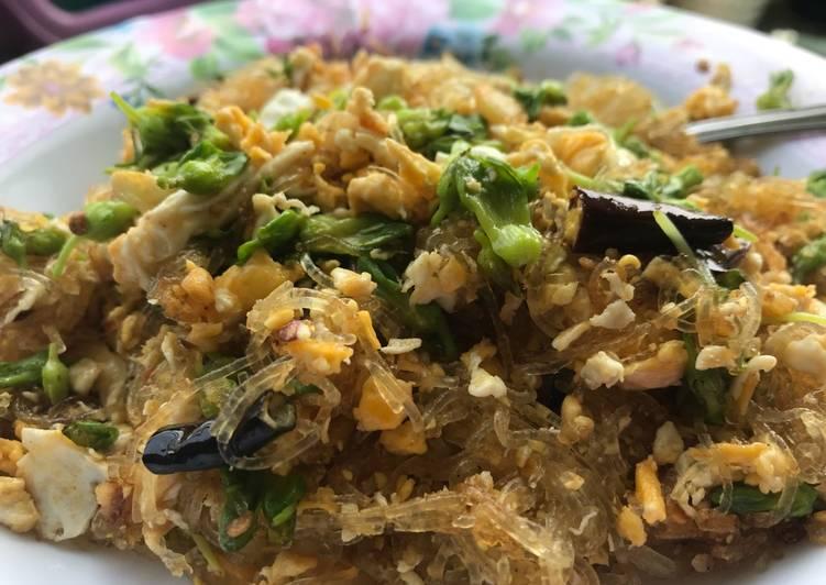 ดอกขจรผัดไข่ใส่วุ้นเส้น #เมนูง่ายๆ #มังสวิรัติก็ทานได้ค่ะ