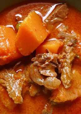 แกงเผ็ดเนื้อบัทเตอร์สควอชอาหารของพ่อบนสวรรค์