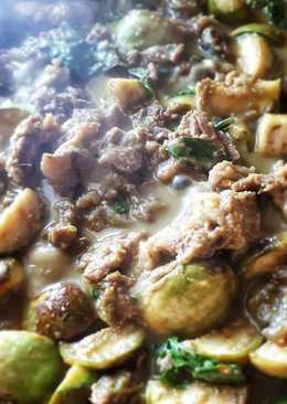 เมนู : เนื้อสันหมักเหล้าจีนผัดพริกแกงเขียวหวานเอ็นแก้วตุ๋น