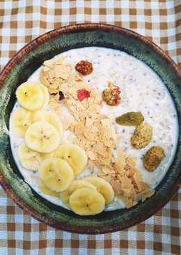 Banana Yogurt Overnight Oatmeal อาหารเช้าคลีน