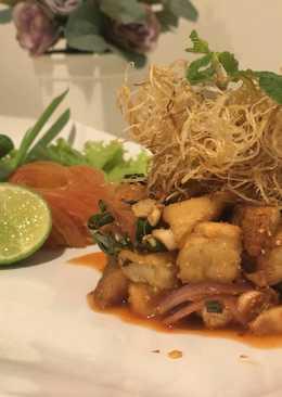 Thai Spicy Milky mushroom Salad (ลาบเห็ดMilky 3สไตล์)