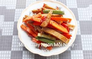Chả chay xào cà rốt dưa leo