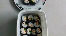 Hình ảnh món Cơm cuộn rong biển, trứng và rau cải bó xôi