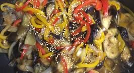 Hình ảnh món Cà tím xào rau củ với sốt hàu - 가지야채볶음 굴소스