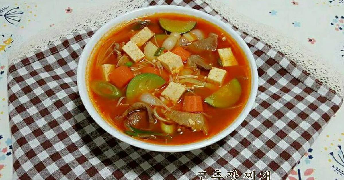 Canh tương ớt (súp tương ớt) 고추장 찌개