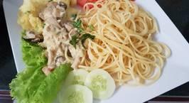 Hình ảnh món Ăn Chay Spaghetti(mỳ ý) sốt kem và khoai nghiền