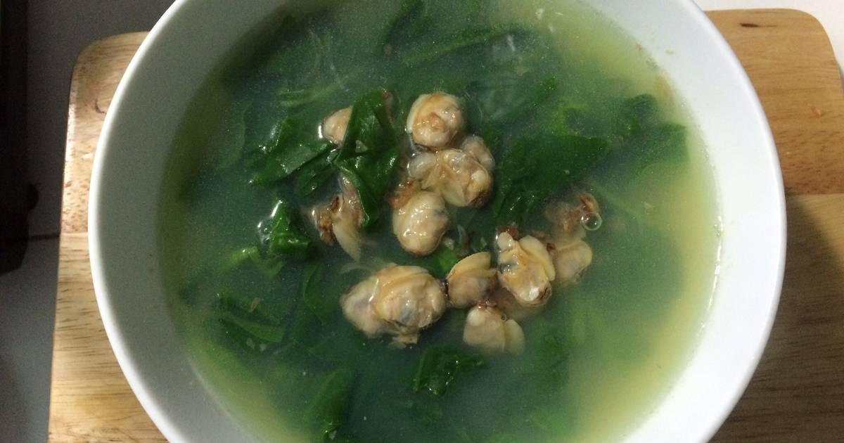 Canh ngao nấu với rau mùng tơi
