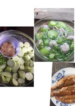 Canh mướp nấu chả cá thu   Cá hường chiên muối xã 😋
