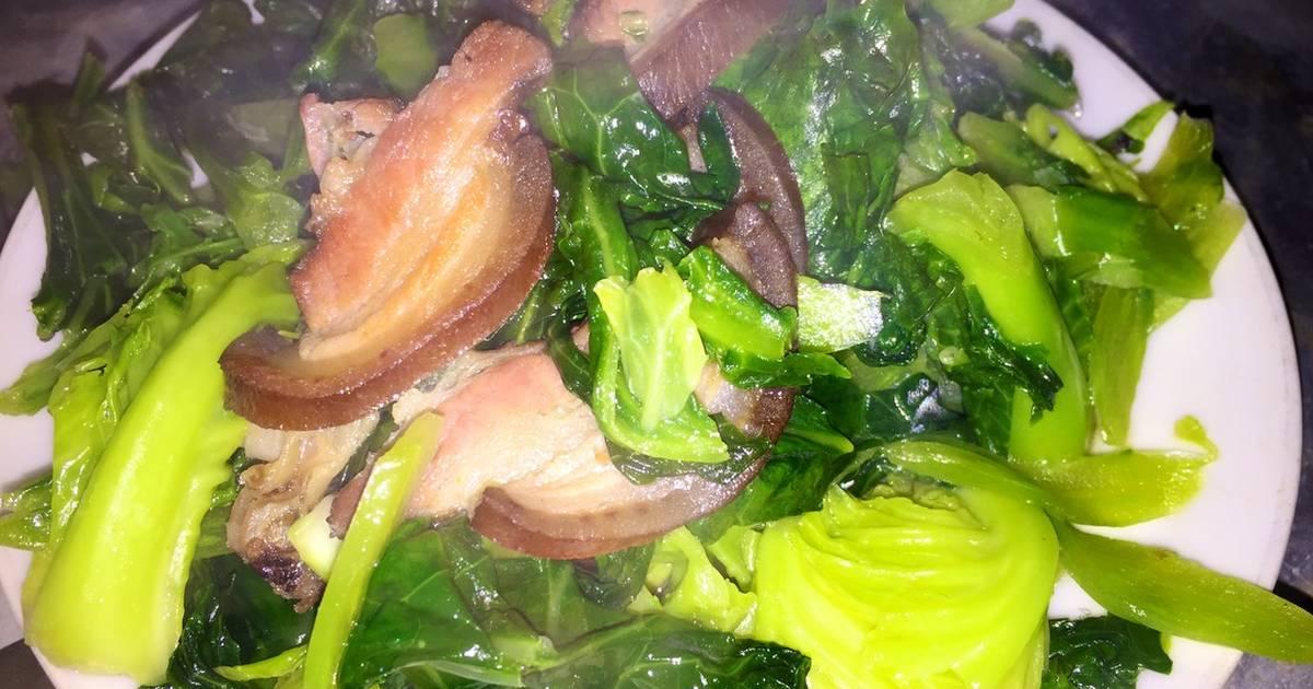 Rau cải làn xào thịt hun khói