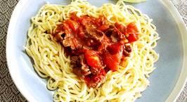 Hình ảnh món Mỳ khoai tây sốt thịt bò hoặc tôm, thịt bằm