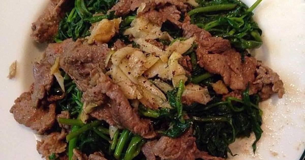 Rau muống xào thịt bò