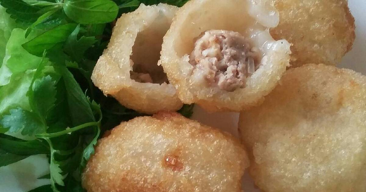 Bánh rán nhân tôm thịt nấm