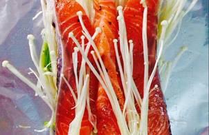 Cá hồi nướng nấm kim châm