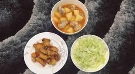 Hình ảnh món Cá diêu hồng sát muối chiên giòn Canh khoai tây sườn sụn Bắp cải xào