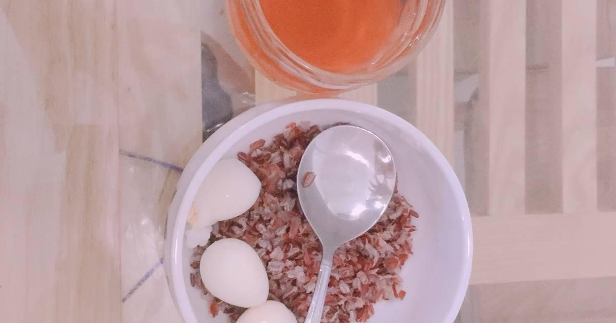 [Giảm Cân ] Cơm gạo lứt + trứng cút luộc + nước gạo lứt