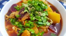 Hình ảnh món Vegatable and seafood soup with pasta (Súp nui hải sản rau củ)
