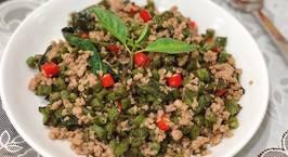 Hình ảnh món Thịt heo xào đậu cô ve kiểu Thái-Thai pork, green bean stir fry