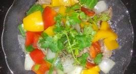 Hình ảnh món Thịt đà điểu xào ngũ sắc (ớt chuông xanh, đỏ, vàng, dưa leo, hành tây)