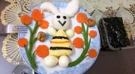 Hình ảnh món Cơm thỏ chơi vườn hoa cho con