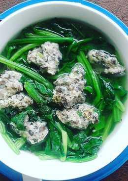 Canh cải bó xôi nấu mọc (giò sống)