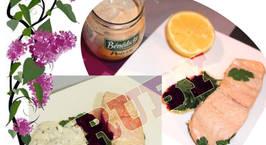 Hình ảnh món Cá HồiChiên Bơ chấm Chanh - Cá Hồi Sốt Kem Tươi, Thym khô & Chanh (10')