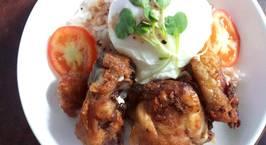 Hình ảnh món Cơm gà chiên và trứng chần