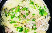 Soup nấm kim châm + giá
