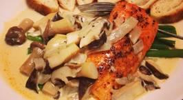 Hình ảnh món Cá hồi sốt kem nấm