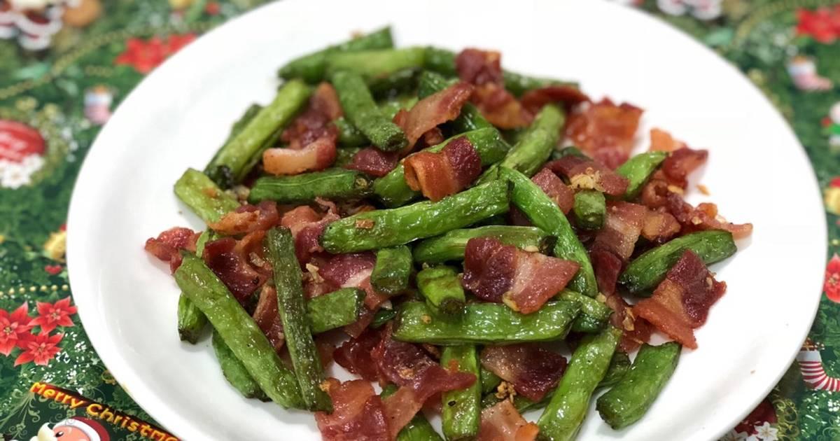Đậu que xào thịt xông khói (green bean stir fried with bacon)