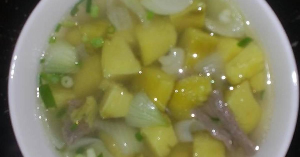 Canh khoai lang nấu thịt bò