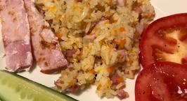 Hình ảnh món Cơm chiên thịt nguội (xá xíu), thịt xông khói