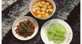 Hình ảnh món Bắp bò thuôn rau dăm Canh đậu Su su luộc (thiếu đĩa muối vừng ?)